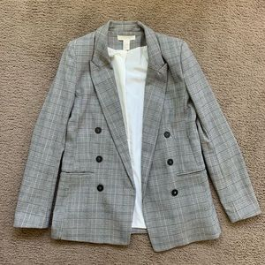 H&M plaid blazer jacket size 4